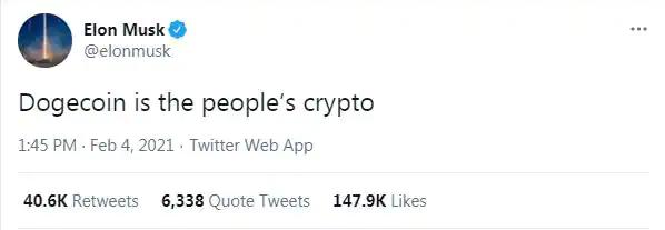 'Call me Dogefather' says Elon,\nYou don't deserve it - Community